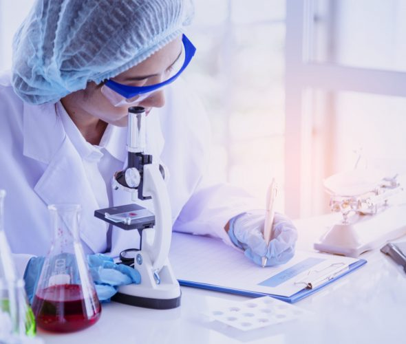 Female scientist look at microscope, science test tube analyse scientific sample in laboratory research experiment biotech make cultivate vaccine against virus. Chemistry science laboratory concept