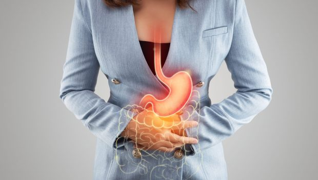 The illustration of stomach and large intestine is on the woman's body against gray background. Acid reflux. Female anatomy
